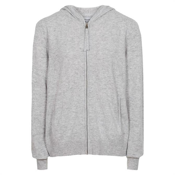 REISS COURTNEY Grey Wool Cashmere Blend Hoodie