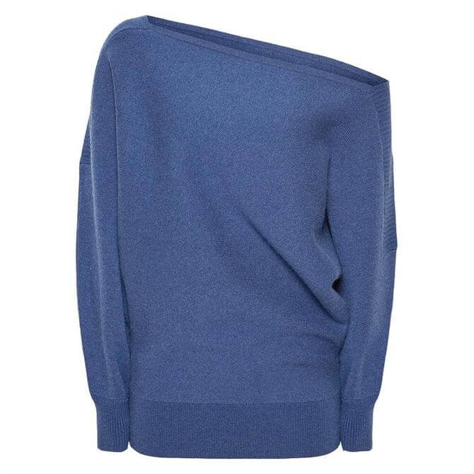 REISS AMY Blue Asymmetric Knitted Top
