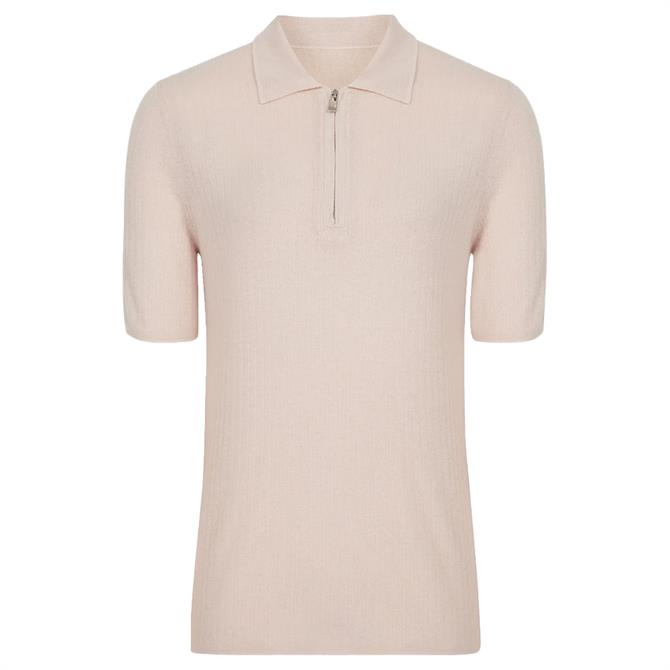 REISS KELLY Ribbed Zip Neck Polo Shirt