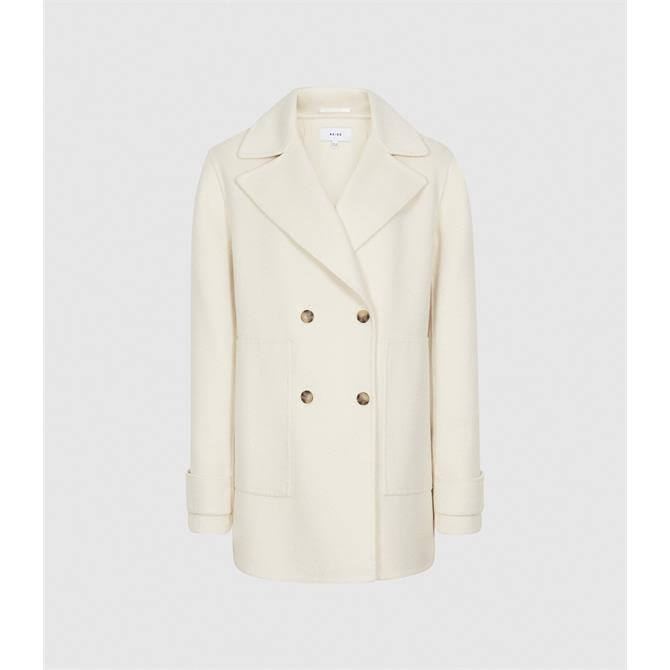 REISS AMBER Cream Wool Blend Double Breasted Coat