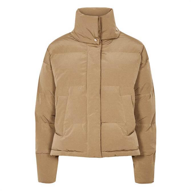 REISS COREY Camel Puffer Jacket with Funnel Neckline