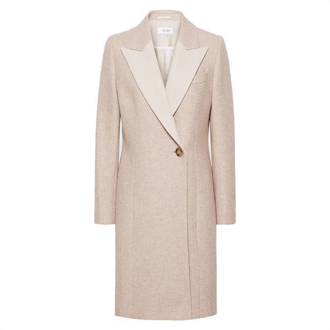 REISS MANDIE Neutral Contrast Collar Overcoat