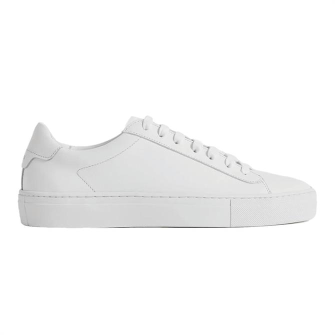REISS FINLEY White Leather Contrast Sole Trainers