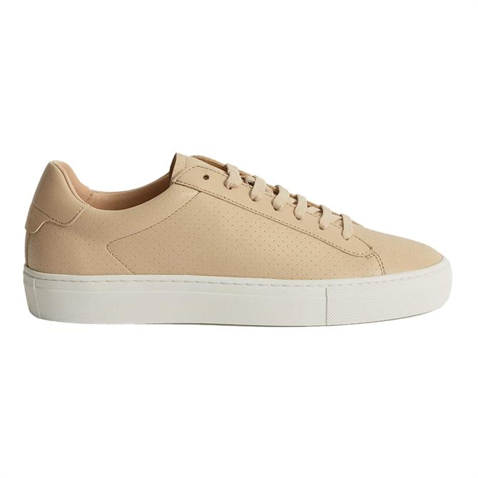 REISS FINLEY Biscuit Perforated Leather Trainers
