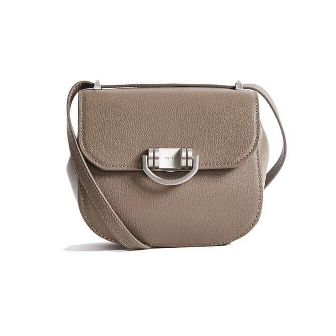 REISS LEXI MICRO Taupe Mini Leather Cross Body Bag