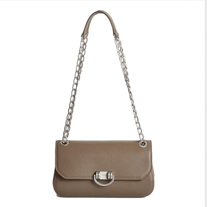 REISS LEXI Taupe Leather Shoulder Bag