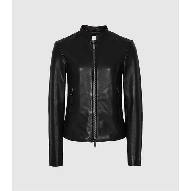 REISS ALLIE Black Leather Collarless Biker Jacket