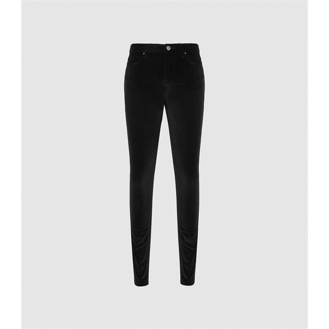 REISS LUX Black Velvet Mid Rise Skinny Trousers