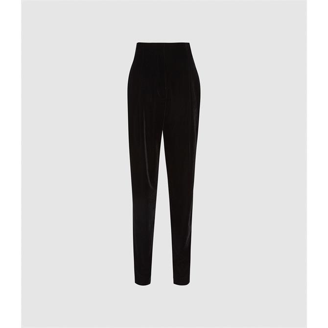 REISS POPPY Black Velvet Tailored Trousers