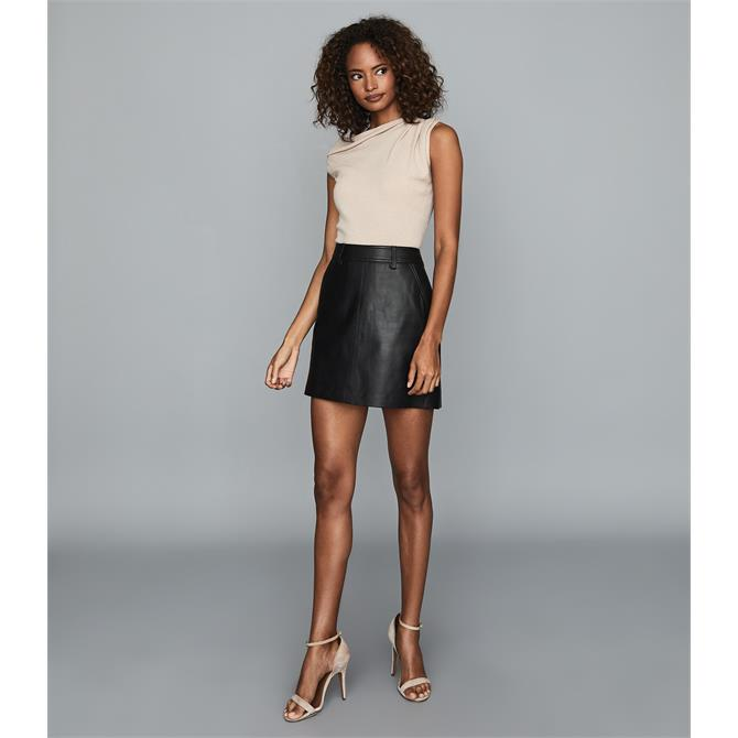 REISS ELIZA Black Leather Mini Skirt