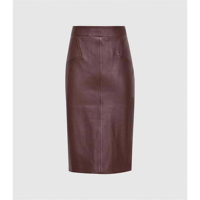 REISS REAGAN Berry Red Leather Pencil Skirt