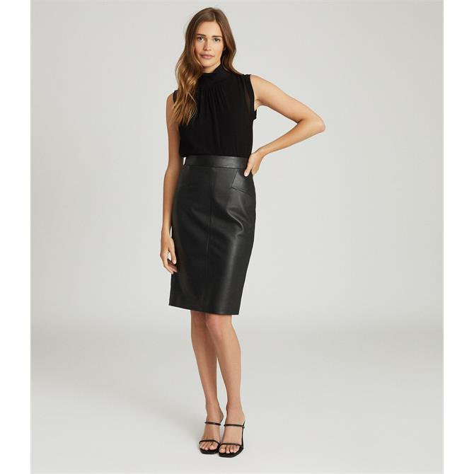 REISS REAGAN Black Leather Pencil Skirt