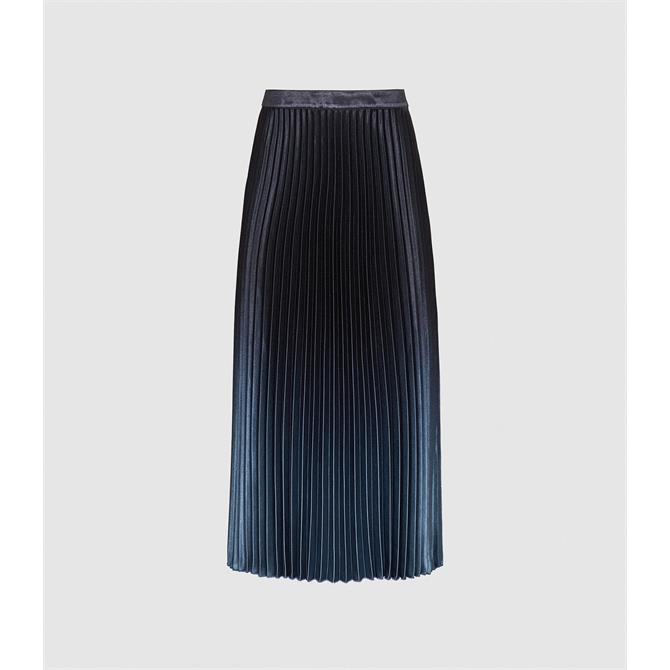 REISS MARLENE Blue Ombre Pleated Midi Skirt