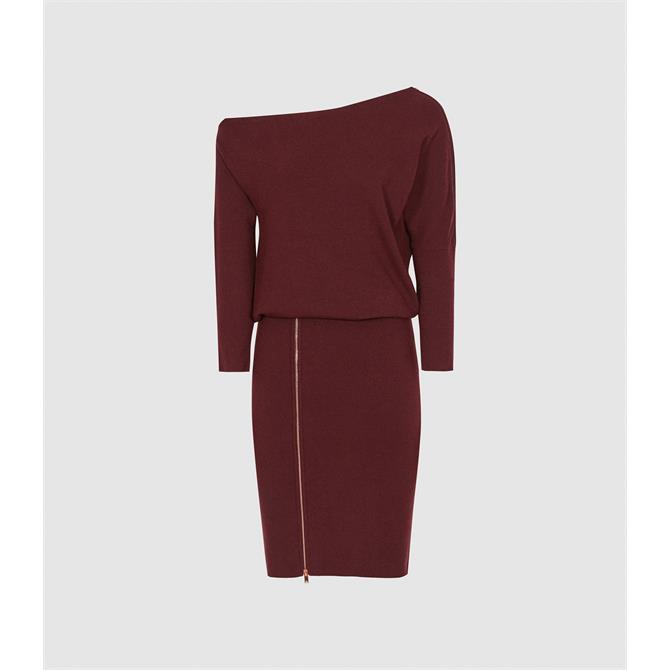 REISS CECILIA Berry Red Off the Shoulder Zip Detail Dress
