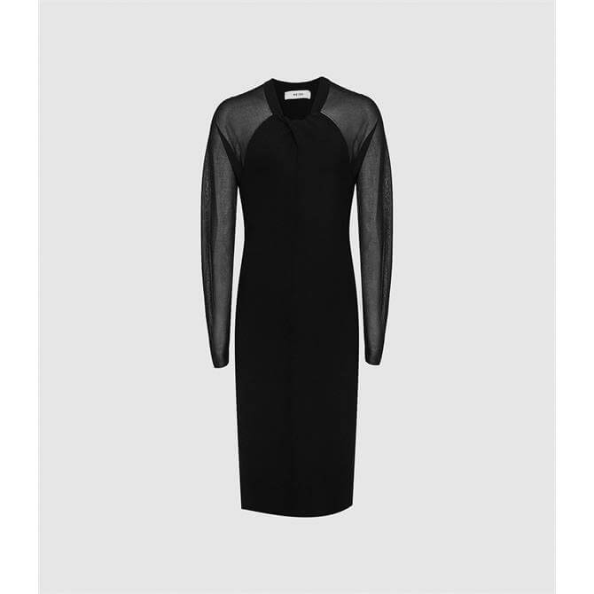 REISS TULA Black Bodycon Dress with Semi Sheer Sleeves