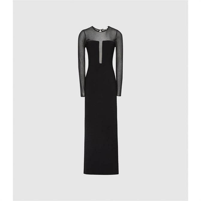 REISS SABRINA Black Maxi Dress with Semi Sheer Panelling