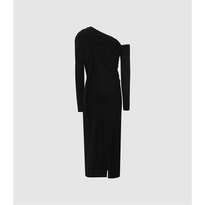 REISS BELLA Black Velvet Midi Dress
