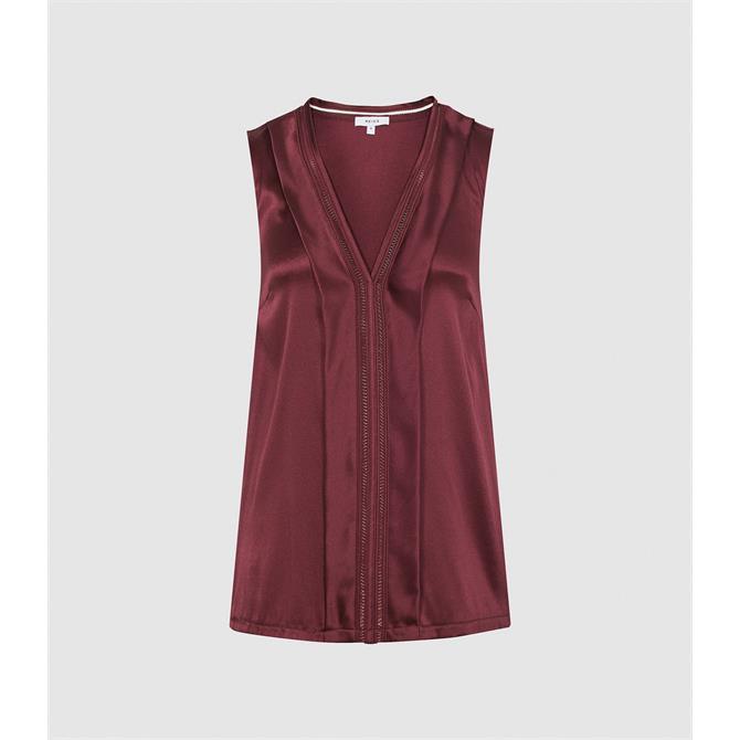 REISS CHELSEA Berry Red Silk-Blend V-Neck Top