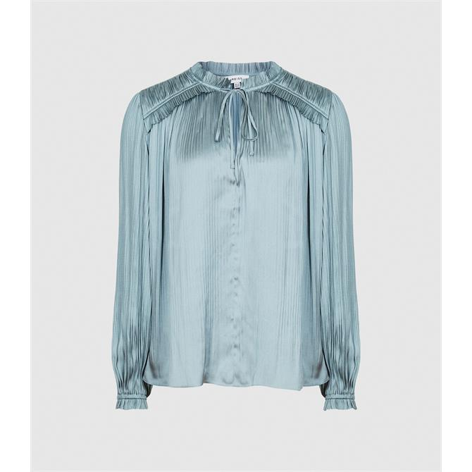 REISS EVERLEY Teal Pleat Detailed Blouse