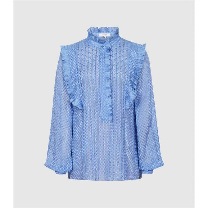 REISS TAYLOR Blue Ruffle Detailed Blouse