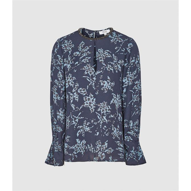 REISS MARINA Blue Printed Blouse with Embellishment Detail