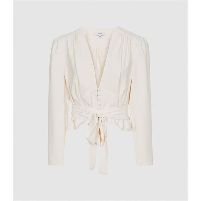 REISS ALENA Ivory Plunge Button Detail Blouse