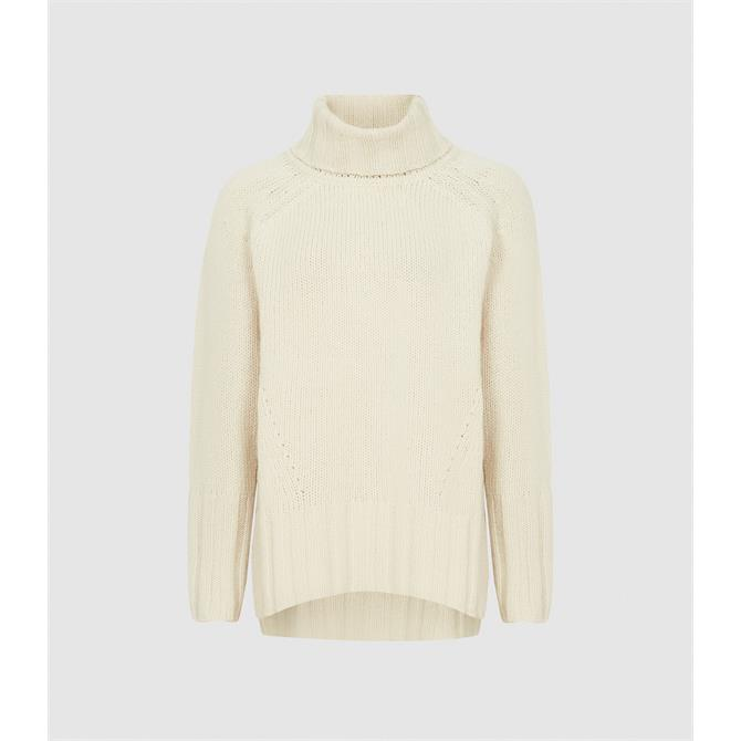 REISS EVE Wool Cashmere Blend Roll Neck Jumper