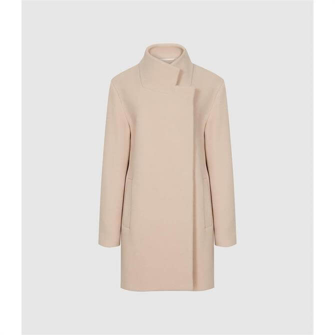 REISS SICILY Pale Pink Wool Blend Mid Length Coat