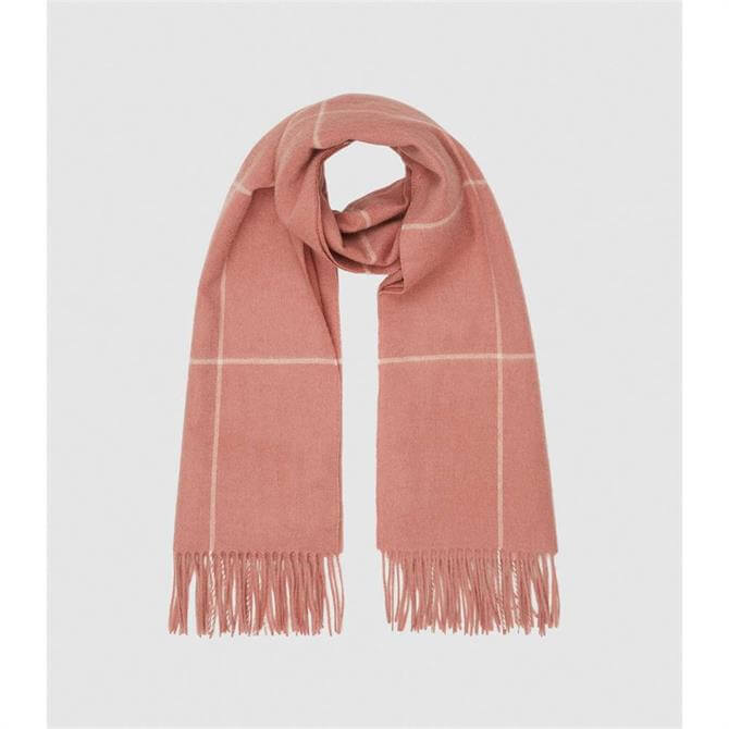 REISS POLLY Pink Wool Cashmere Blend Oversized Scarf