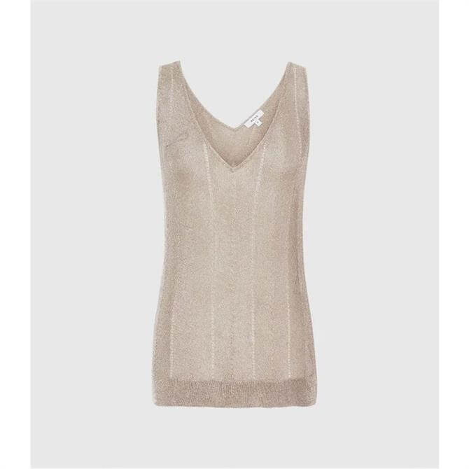 REISS ALICE Rose Gold Metallic Knitted Top