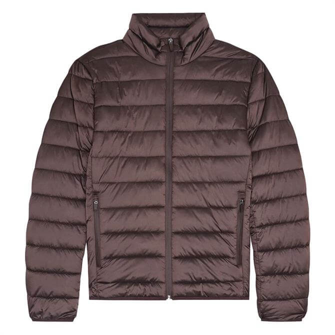 REISS ARMSTRONG Plum Quilted Funnel Neck Jacket