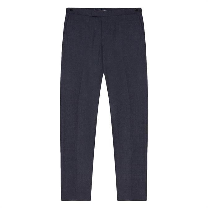 REISS DUNN Navy Textured Slim Fit Trousers