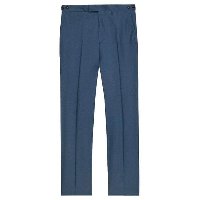 REISS EXTRA Airforce Blue Wool Slim Fit Trousers