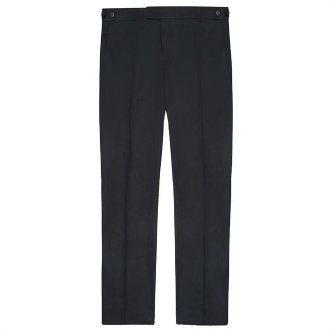 REISS KIN Navy Slim Fit Linen Trousers