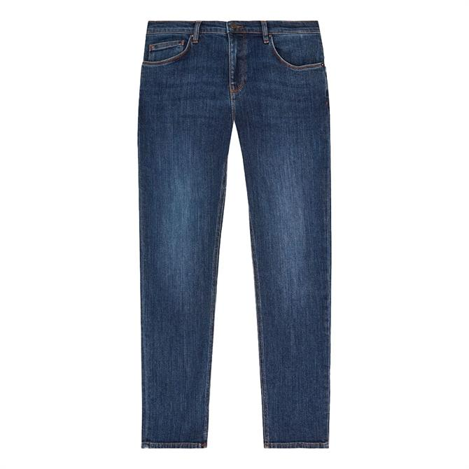 REISS SAMSUN Dark Blue Tapered Slim Fit Jeans