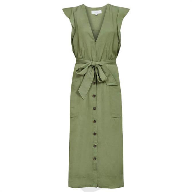 REISS EMMA Khaki Linen Blend Midi Dress