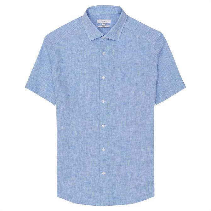 REISS HOLIDAY Blue Linen Slim Fit Shirt