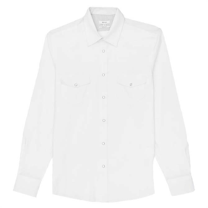 REISS ALBY White Regular Fit Western Overshirt