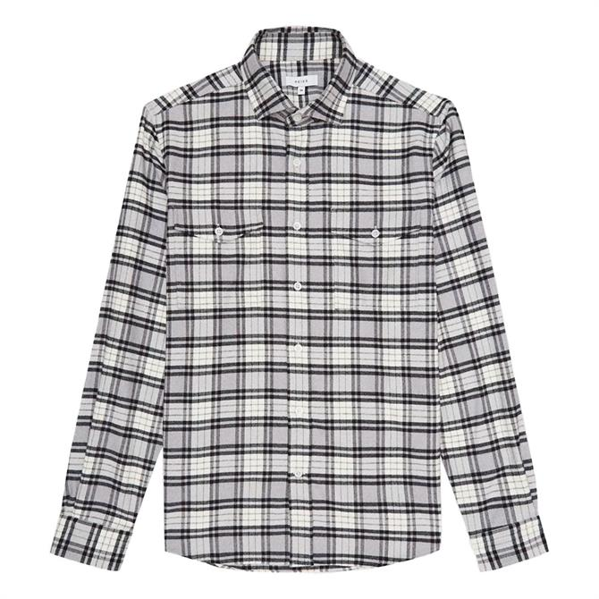 REISS DASHAND Off White Brushed Cotton Checked Overshirt