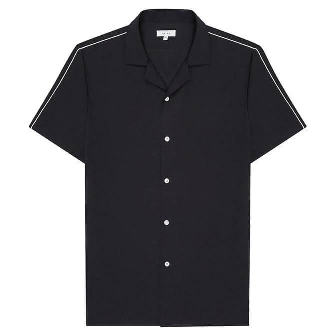 REISS FANG Tipped Cuban Collar Shirt