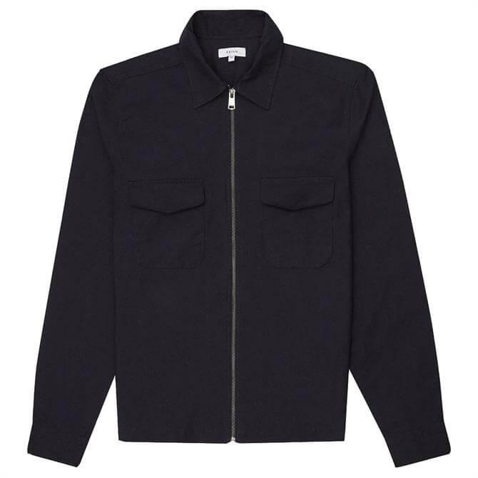 REISS GEMINI Navy Zip Through Overshirt