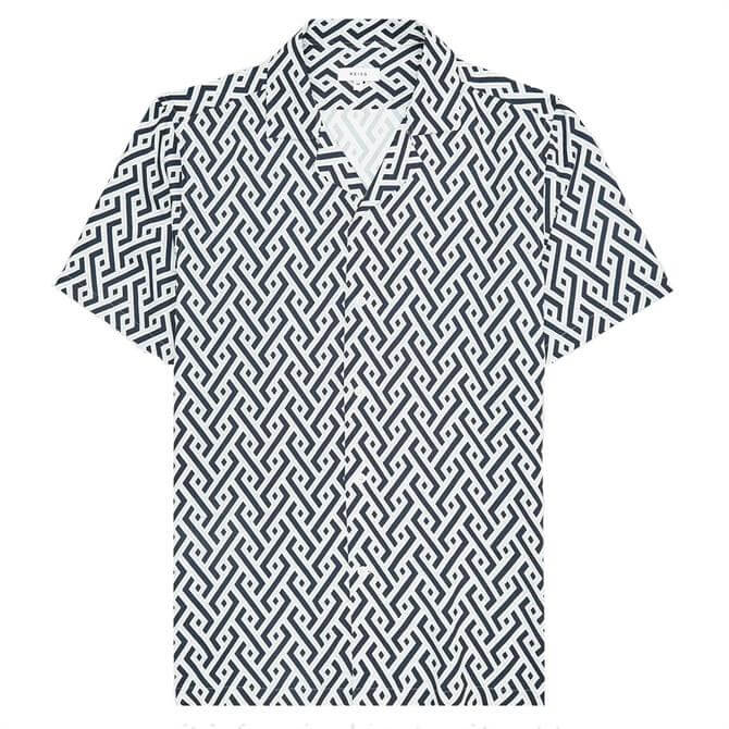REISS UPTOWN Navy Printed Cuban Collar Shirt