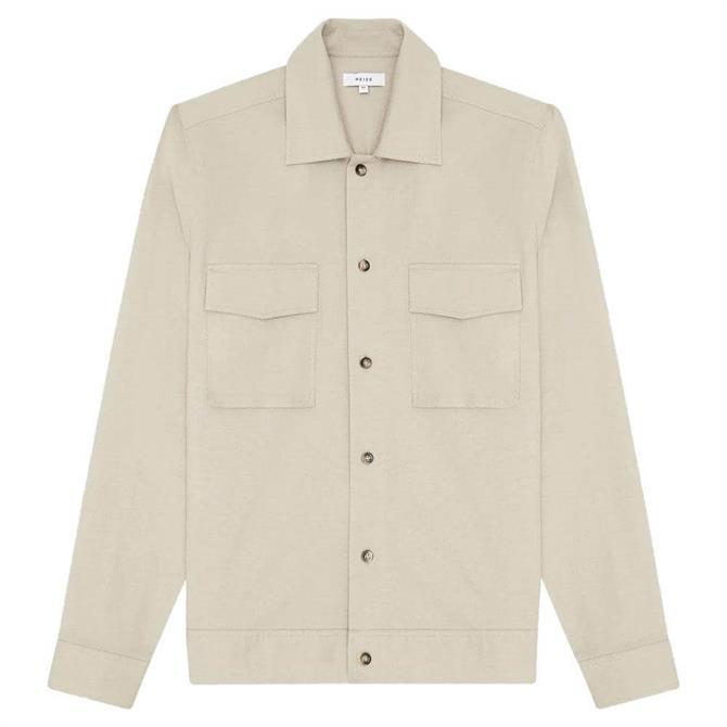 REISS KIMCHI Cotton Linen Blend Overshirt