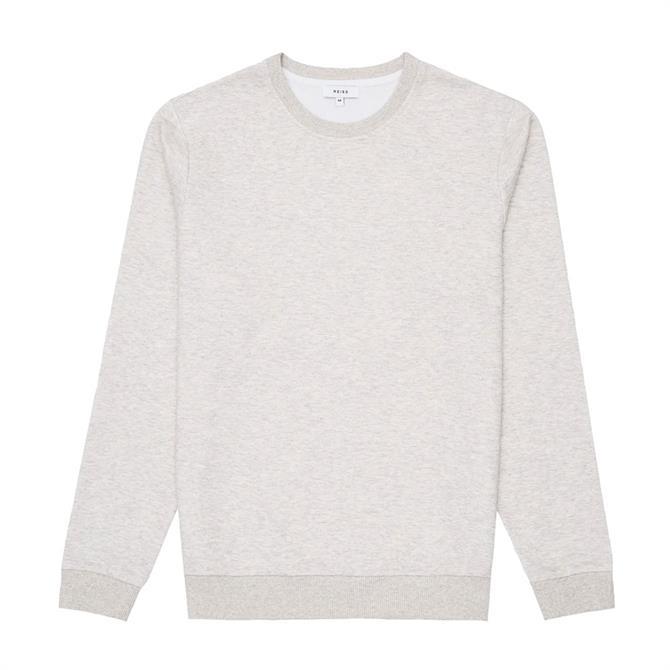 REISS DOUGLAS Soft Grey Melange Jersey Sweatshirt
