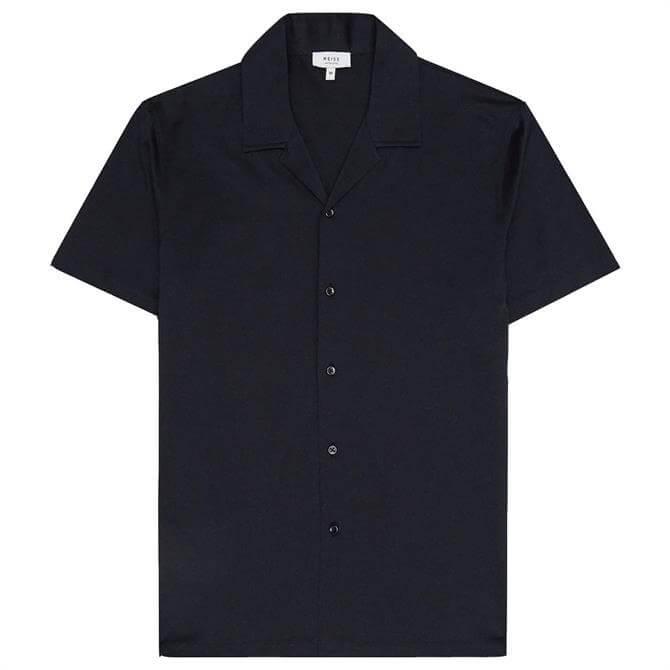 REISS CASPA Navy Mercerised Cotton Jersey Shirt
