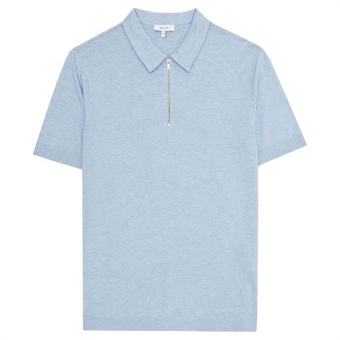 REISS Anthony Soft Blue Melange Self-Start Rib Zip-Neck Polo Shirt