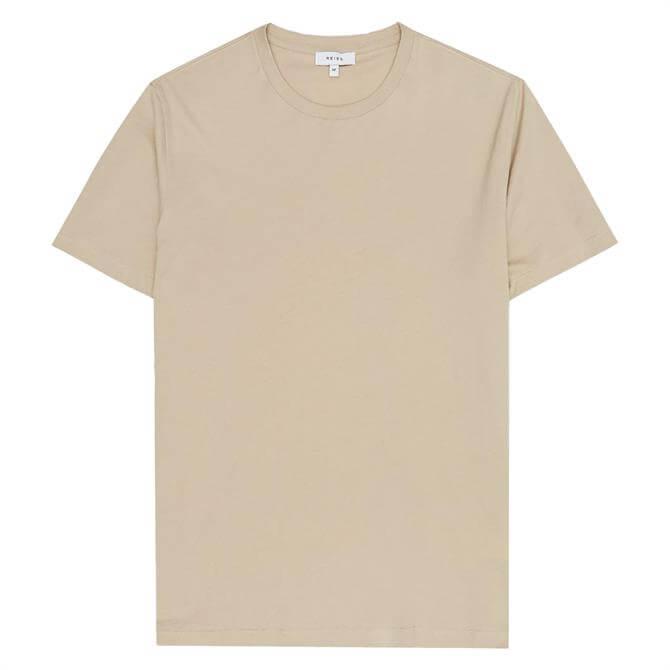 REISS BLESS Beige Regular Fit Crew Neck T-Shirt