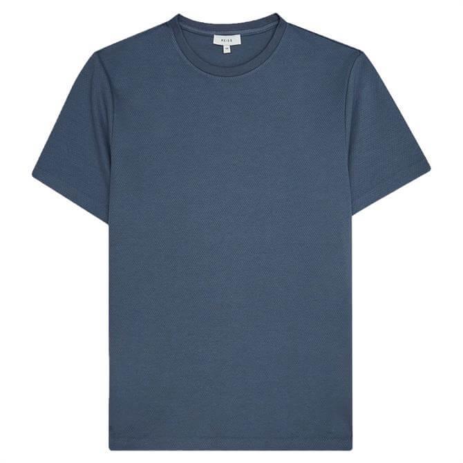 REISS PUTNEY Pewter Textured Crew Neck T-Shirt