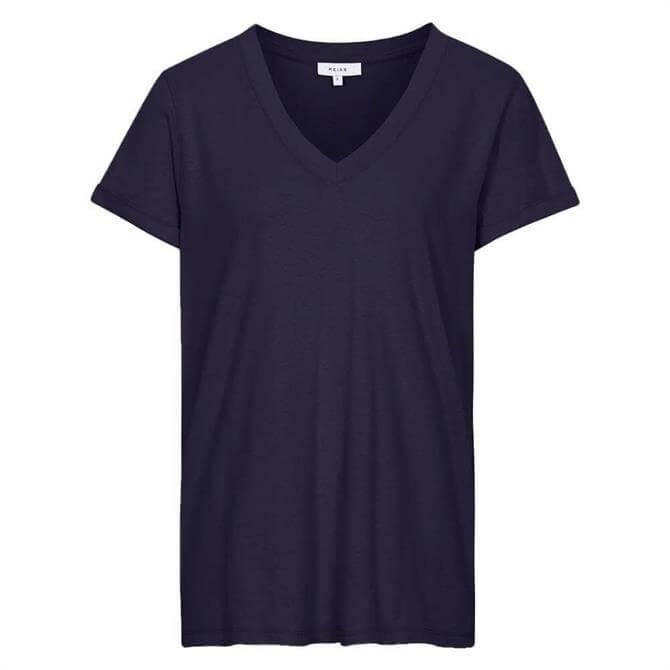 REISS LUANA Navy Cotton Jersey V-Neck T-Shirt