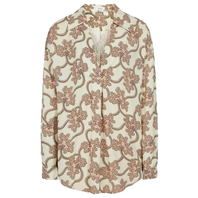 REISS SUKI Ivory Printed Overhead Shirt